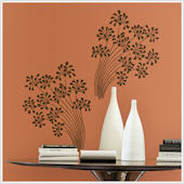Flocked Floral Peel and Stick Wall Stickers