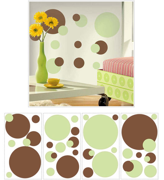 Green and Brown Peel and Stick Wall Dots - Wall Sticker Outlet