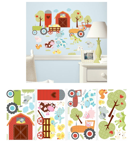 Farm murals country farm animal stick ups baby barnyard for Barnyard wall mural