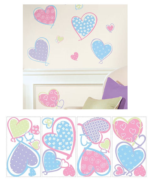 Hearts Peel and Stick Wall Stickers - Wall Sticker Outlet