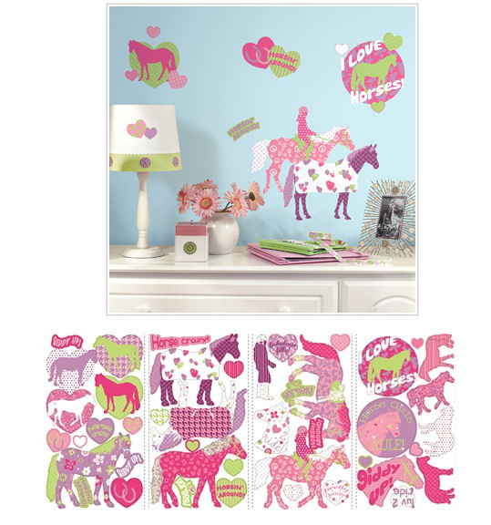 Horse Crazy Peel and Stick Wall Decals - Wall Sticker Outlet