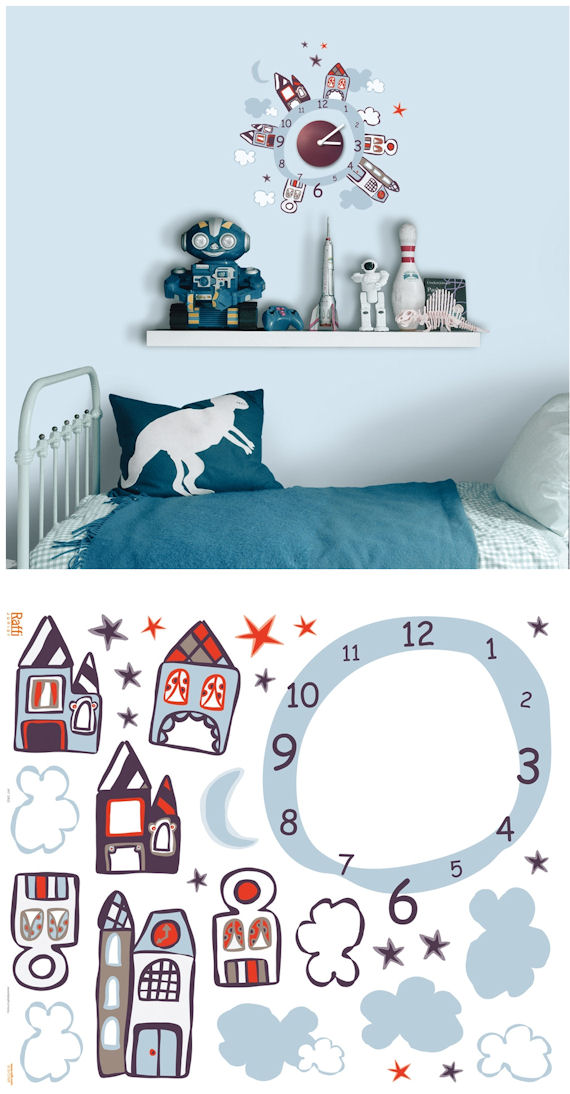 Houses at Night Clock and Wall Decals - Wall Sticker Outlet