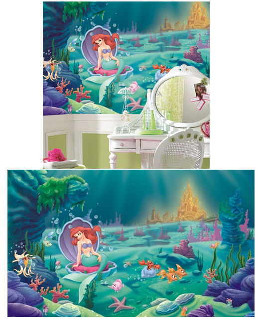 Little mermaid ariel giant xl wall mural 6 x 10 kids for Disney ariel wall mural