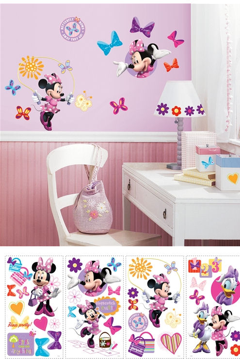 disney minnie mouse bow tique wall stickers. Black Bedroom Furniture Sets. Home Design Ideas