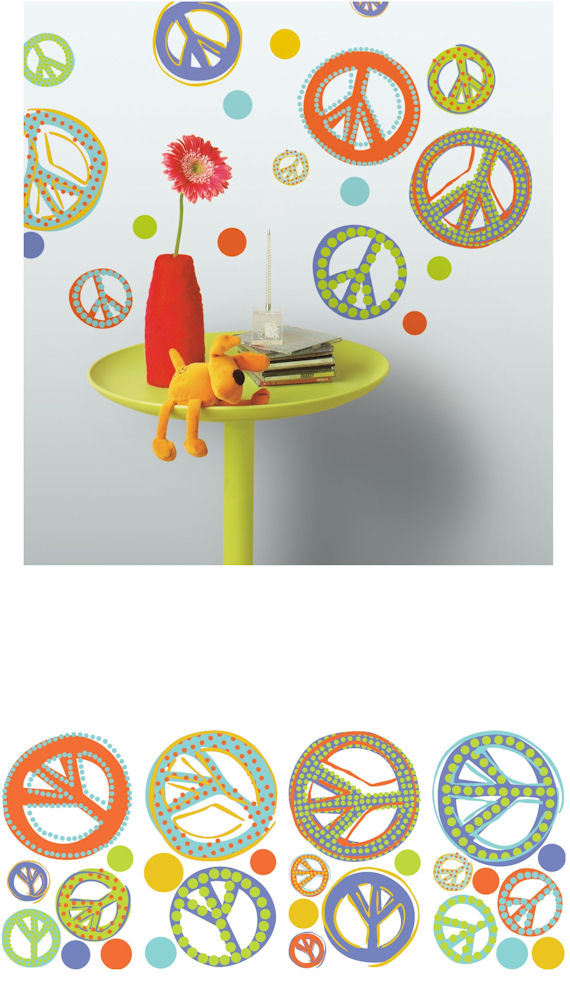 Mod Peace Signs Peel and Stick Wall Decal  - Wall Sticker Outlet