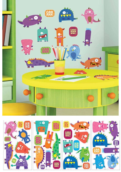 Monsters Peel and Stick Wall Stickers - Wall Sticker Outlet