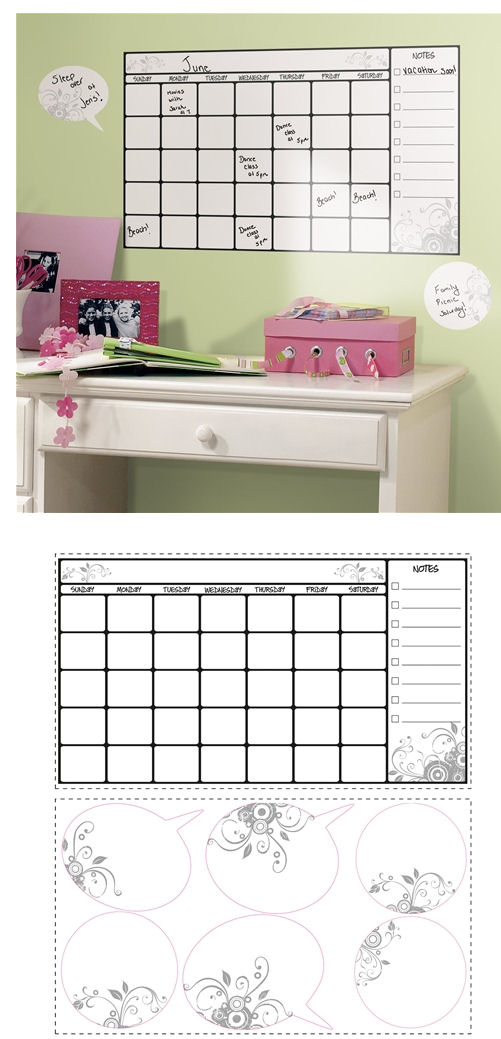 Dry Erase Calendar Giant Wall Sticker  - Wall Sticker Outlet