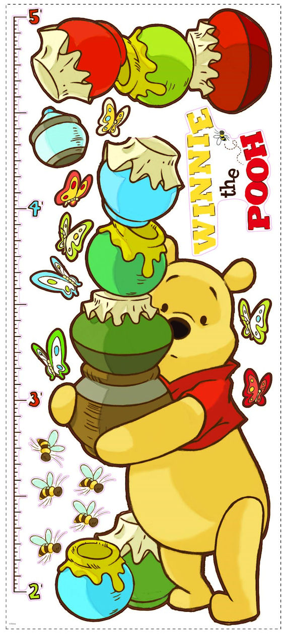 Pooh and Friends Peel and Stick Growth Chart - Wall Sticker Outlet