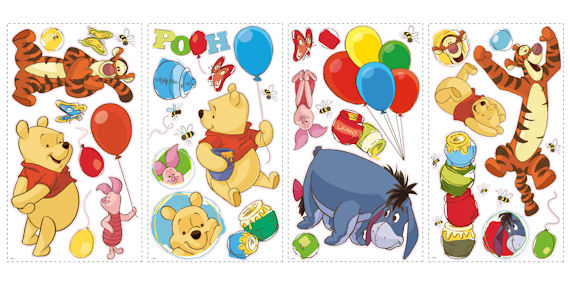 Pooh and Friends Peel and Stick Wall Stickers - Wall Sticker Outlet