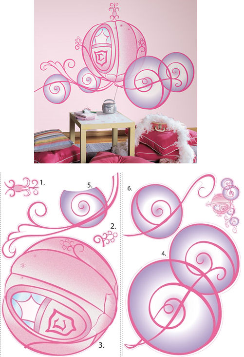 Disney Princess Carriage Giant Wall Sticker - Wall Sticker Outlet