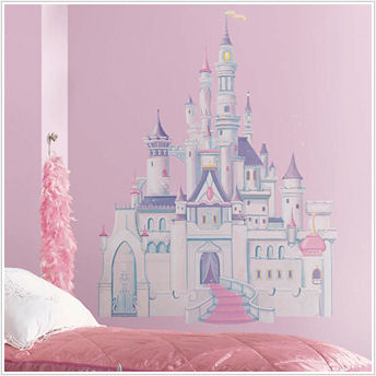New disney princess castle giant wall mural for Disney princess castle mural