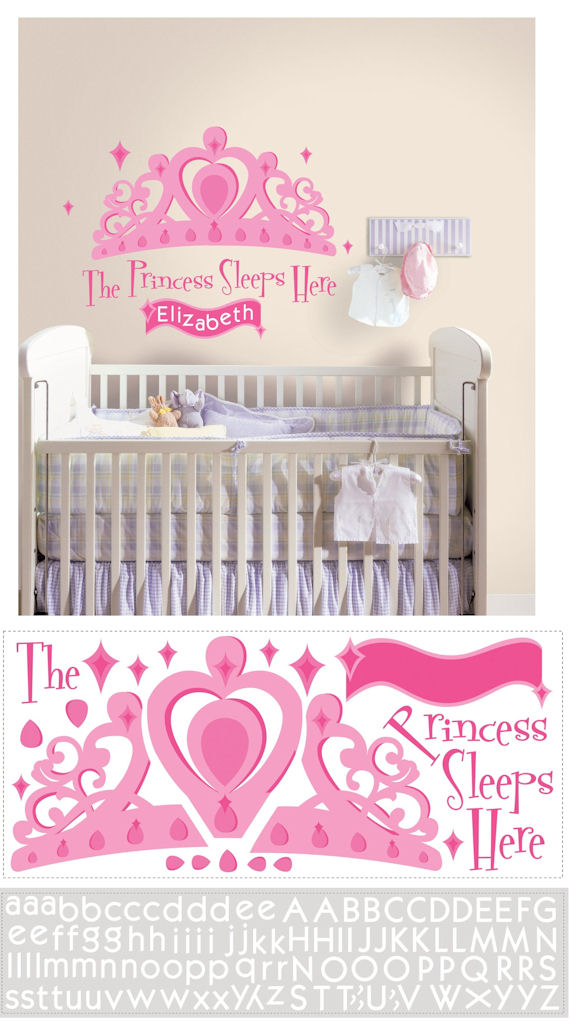 Princess Sleeps Here Personalized Wall Decal - Wall Sticker Outlet