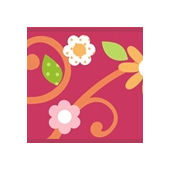 Red Floral Scroll Peel and Stick Wall Border