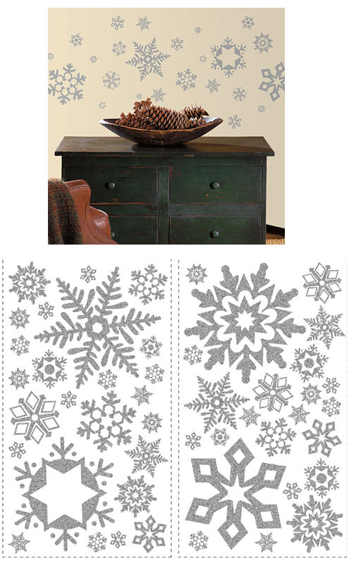 Glitter Snowflake Peel Stick Wall Stickers  - Wall Sticker Outlet