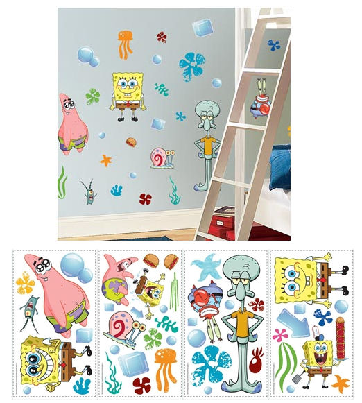 Spongebob Squarepants Peel and Stick Wall Stickers - Kids Wall Decor Store