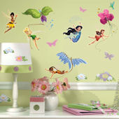 Tinker Bell New Fairies Glitter Wall Stickers