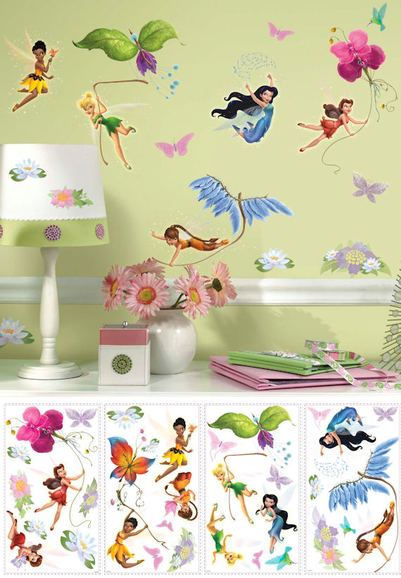 Tinkerbell wall decals 2017 grasscloth wallpaper for Disney tinkerbell mural