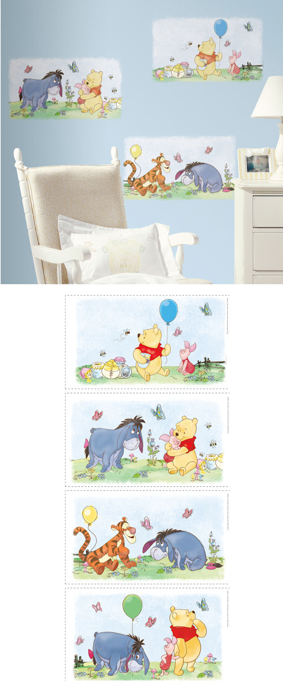 Winnie the Pooh Set 4 Wall Panels - Wall Sticker Outlet