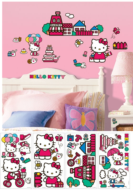 World of Hello Kitty Peel and Stick Appliques - Wall Sticker Outlet