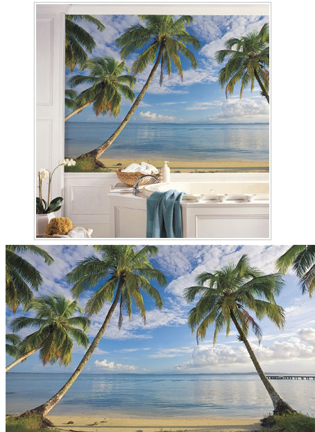 Beach view xl wall mural for Beach view wall mural