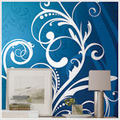 Blue and White Scroll XL Wall Mural