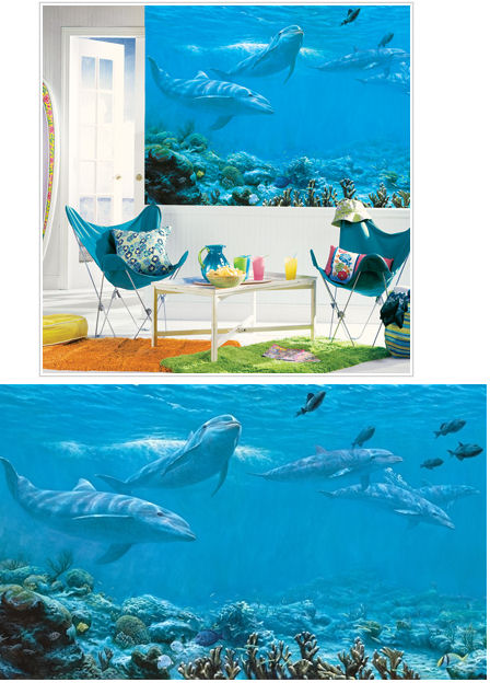 Dolphins XL Wall Mural - Kids Wall Decor Store