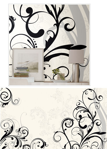 Black and White Scroll XL Wall Mural - Wall Sticker Outlet