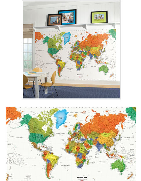 world map xl wall mural wall sticker outlet. Black Bedroom Furniture Sets. Home Design Ideas