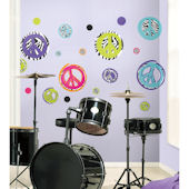 Zebra Peace Signs Wall Decals
