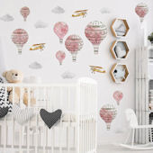 Urbanwalls Rosy Pink Hot Air Balloons Wall Decals