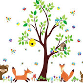Running Fox Forest Animals Wall Decals