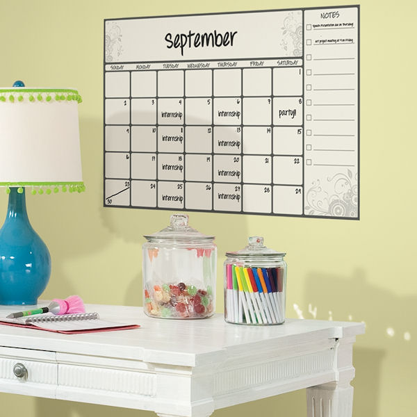Large Scroll Dry Erase Peel and Stick Calendar  - Wall Sticker Outlet