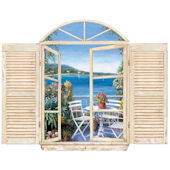 Seaside Window Peel and Stick Mural