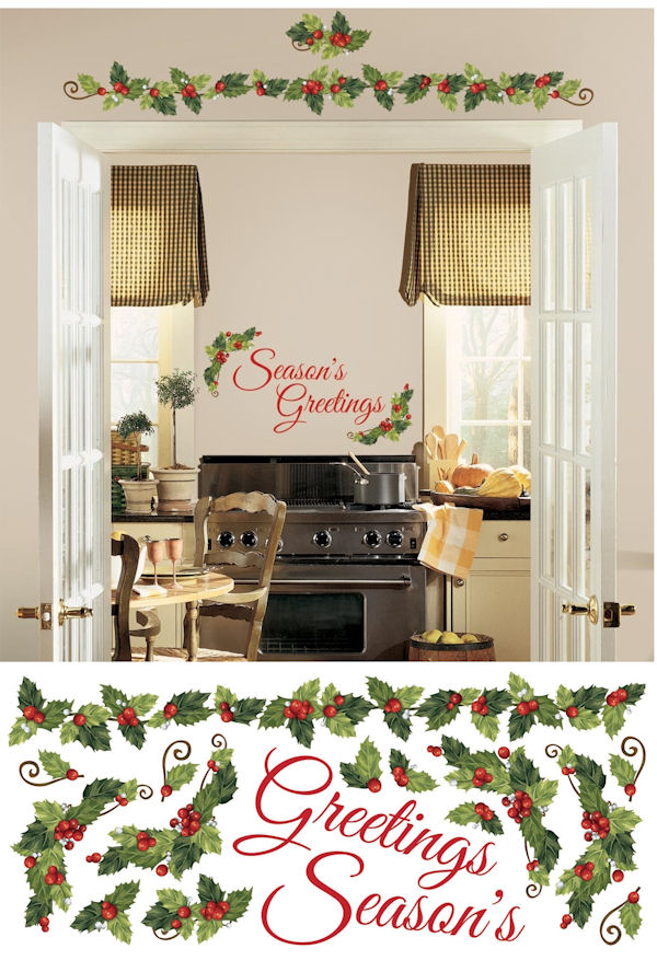 Seasons Greetings Wall Quote with Ivy Decals - Wall Sticker Outlet