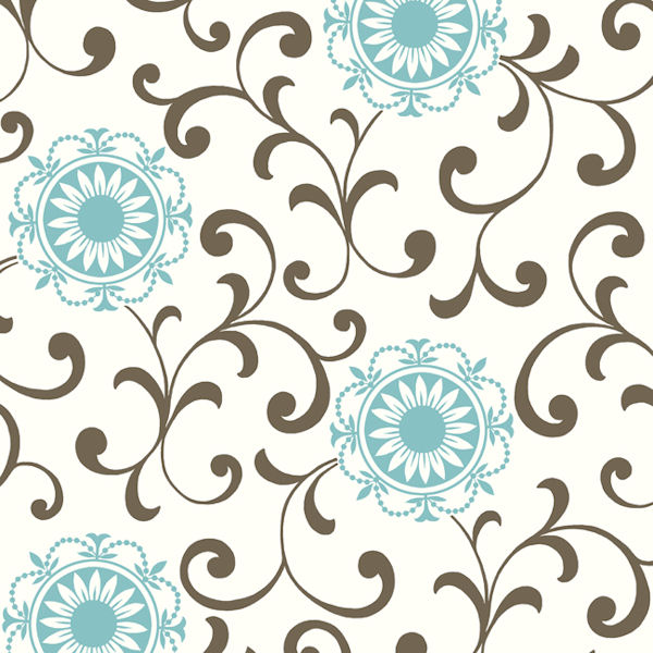 Blue And Brown Medallion With Scroll Wallpaper