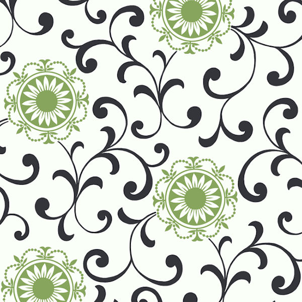 Black and Green Medallion With Scroll Wallpaper - Wall Sticker Outlet