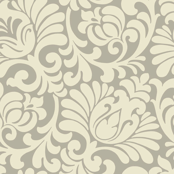 Silver And Beige Tulip Damask Wallpaper