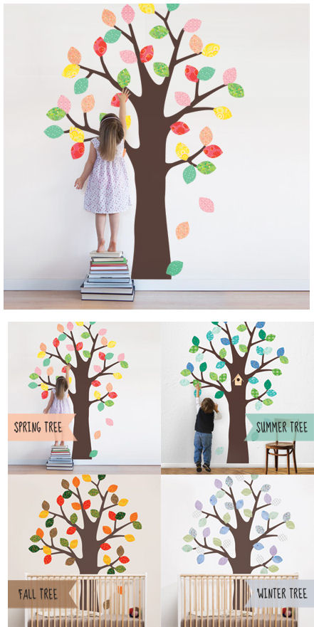 Simple Shapes Tree With Patterned Leaves Decals  - Wall Sticker Outlet