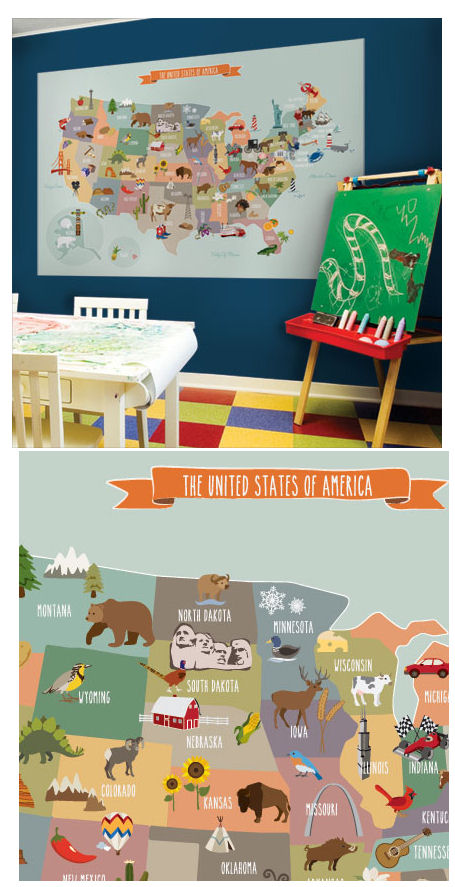 Simple Shapes USA Peel and Stick Map - Wall Sticker Outlet