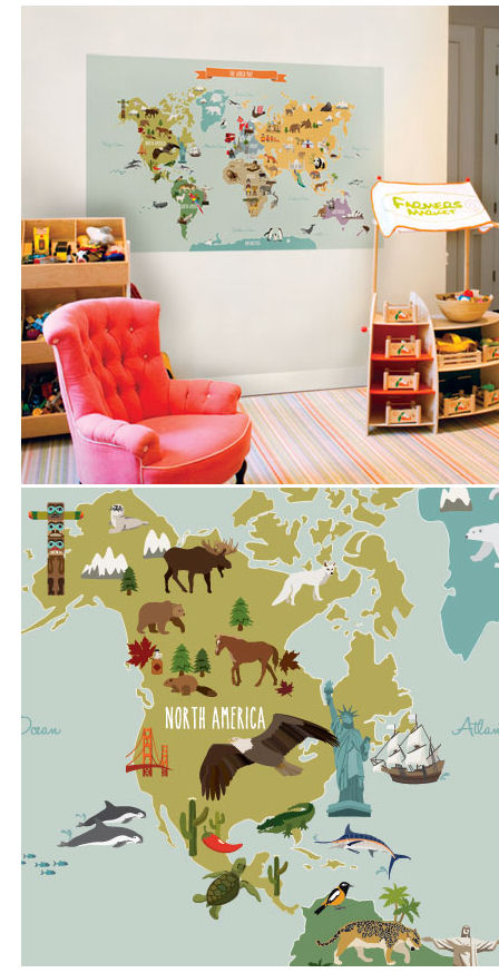 Simple Shapes World Peel and Stick Map - Wall Sticker Outlet