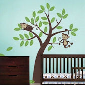 Two Monkeys in a Tree Giant Wall Decal