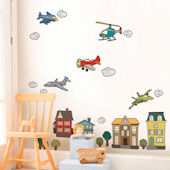 Airplanes Helicopters Fabric Peel and Stick Decals