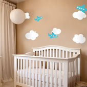 Airplane and Clouds Fabric Peel and Stick Decal
