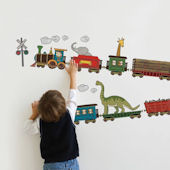 Animal Train Fabric Peel Stick Decals