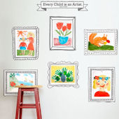 Kids Art Display Fabric Peel Stick Decals