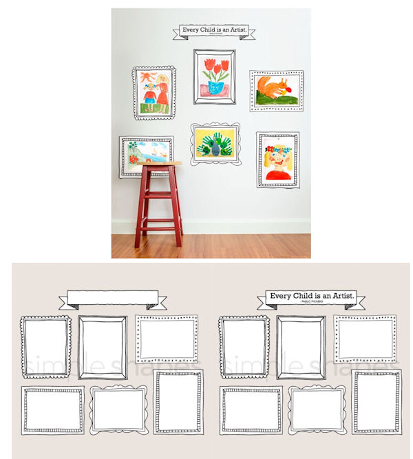 Kids Art Display Fabric Peel Stick Decals - Wall Sticker Outlet