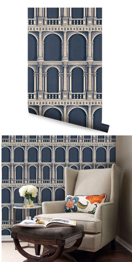 Classic Architecture Navy Peel Stick Wallpaper