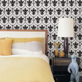 Damask Black Peel and Stick Wallpaper