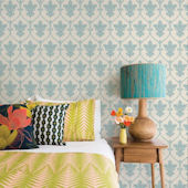 Damask Dusty Blue Peel and Stick Wallpaper