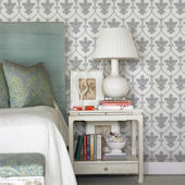 Gray Damask Peel and Stick Wallpaper